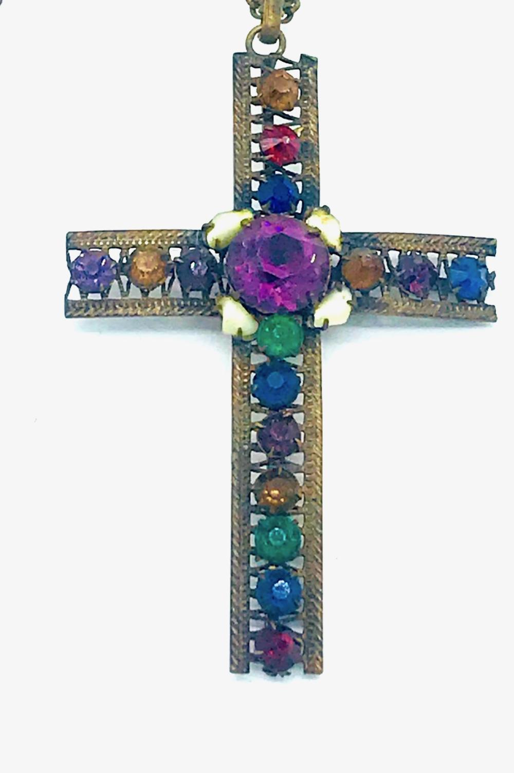 Lot 8658: Jumbo, 1910's Colored Cross, Seed Pearls, Handmade