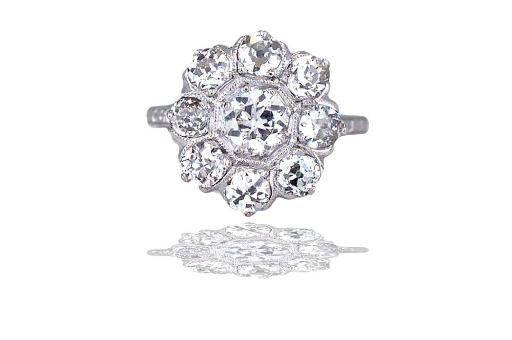 Lot 8676: Art Deco, Platinum 2.10 TCW Diamond 1920'