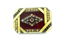 Lot 8691: Popesco French, Enamel Floral Marcasite Pin