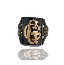 Lot 8692: Victorian, Black Onyx, Lucky Intial 14 Kt.Pink-White gold Ring