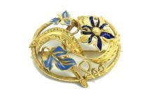 Lot 8694: French, Enamel 18 Kt. Gold Floral-Leaf Pin, Circa 1800's