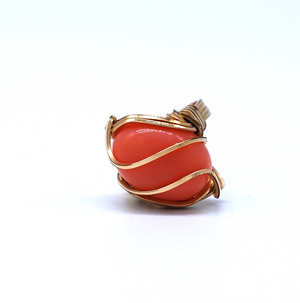 Art Deco Gold Woven Wrapped Coral Ring, Size 5-3/4