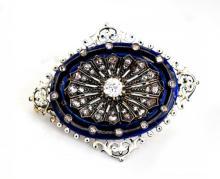 Lot 8701: Rare 1800's French, Victorian Enamel 1.40 CT Diamond Pin, 2 inches