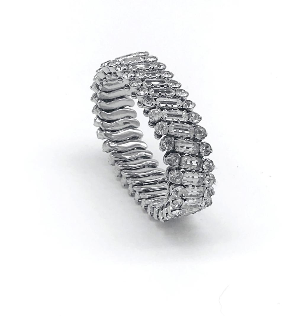 "Lot 8705: Vintage, Rhinestone Expandable Fancy 1-1/2"" Bracelet"