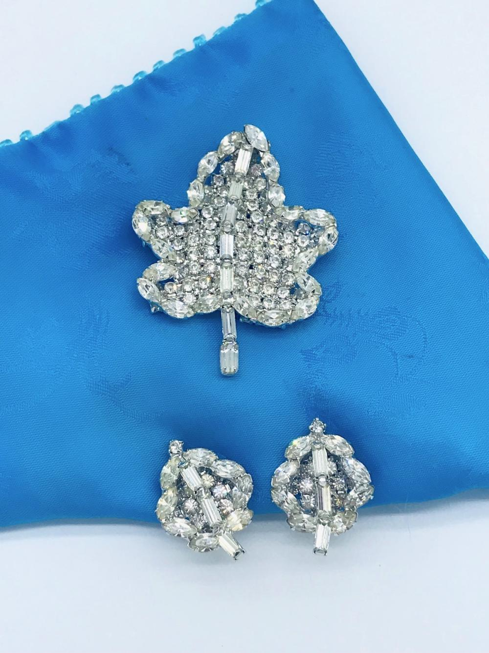 Leaf, Pin and Earring , Vintage 2-1/2 inch, Excellent Quality