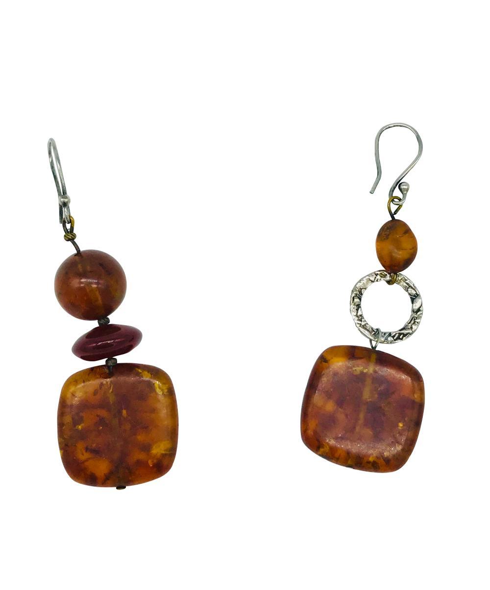 Lot 8710: Modern, Amber Hanging Sterling Alternating Shapes, Earrings