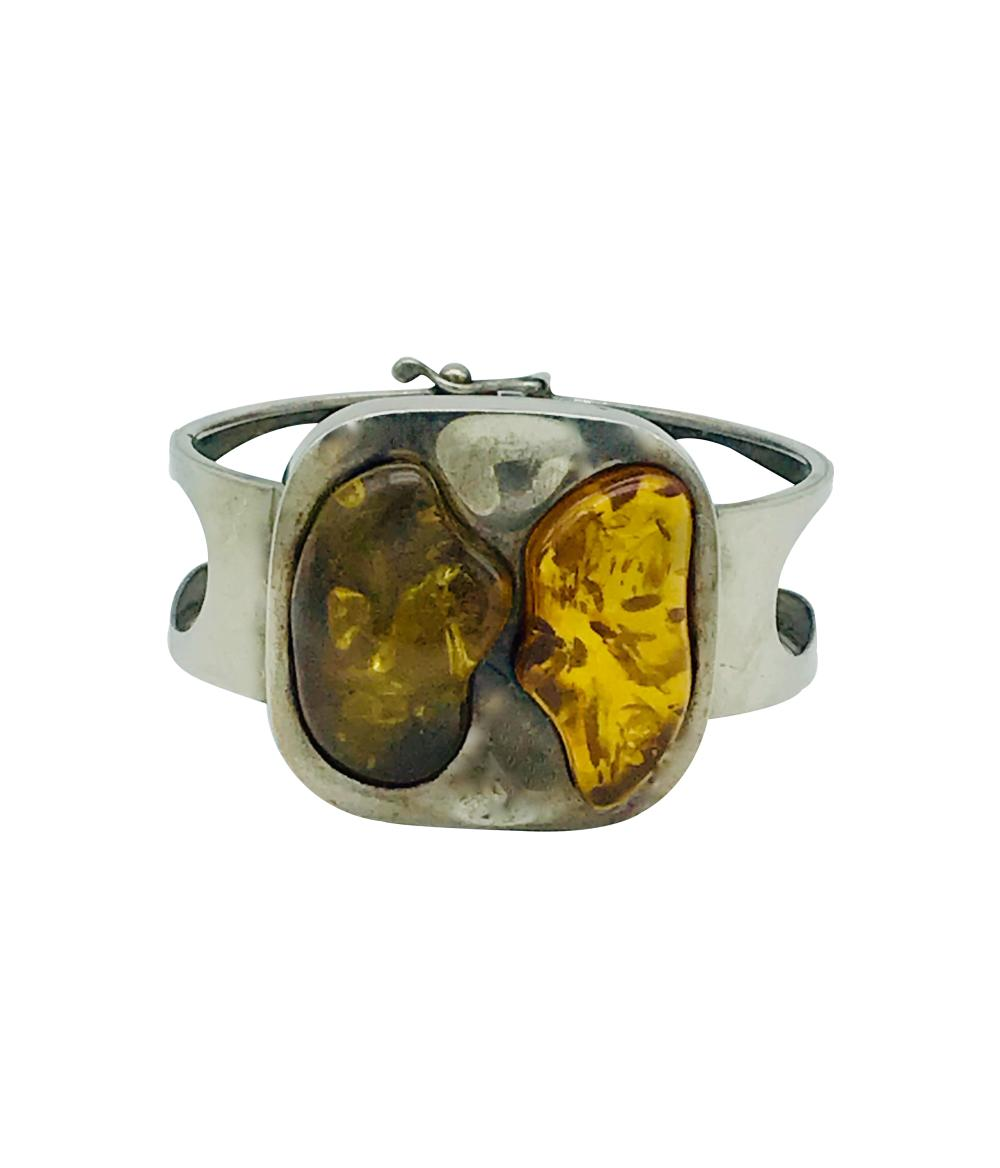 Modern, Amber Duel Colored,  Wide Cuff Hinged Bracelet