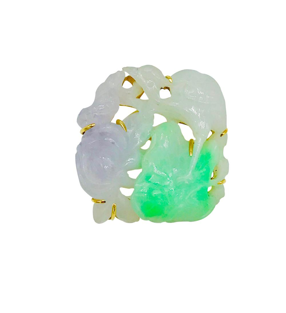 Multi Colored Jade, Turtles, Bird, Floral 14 Kt Pin