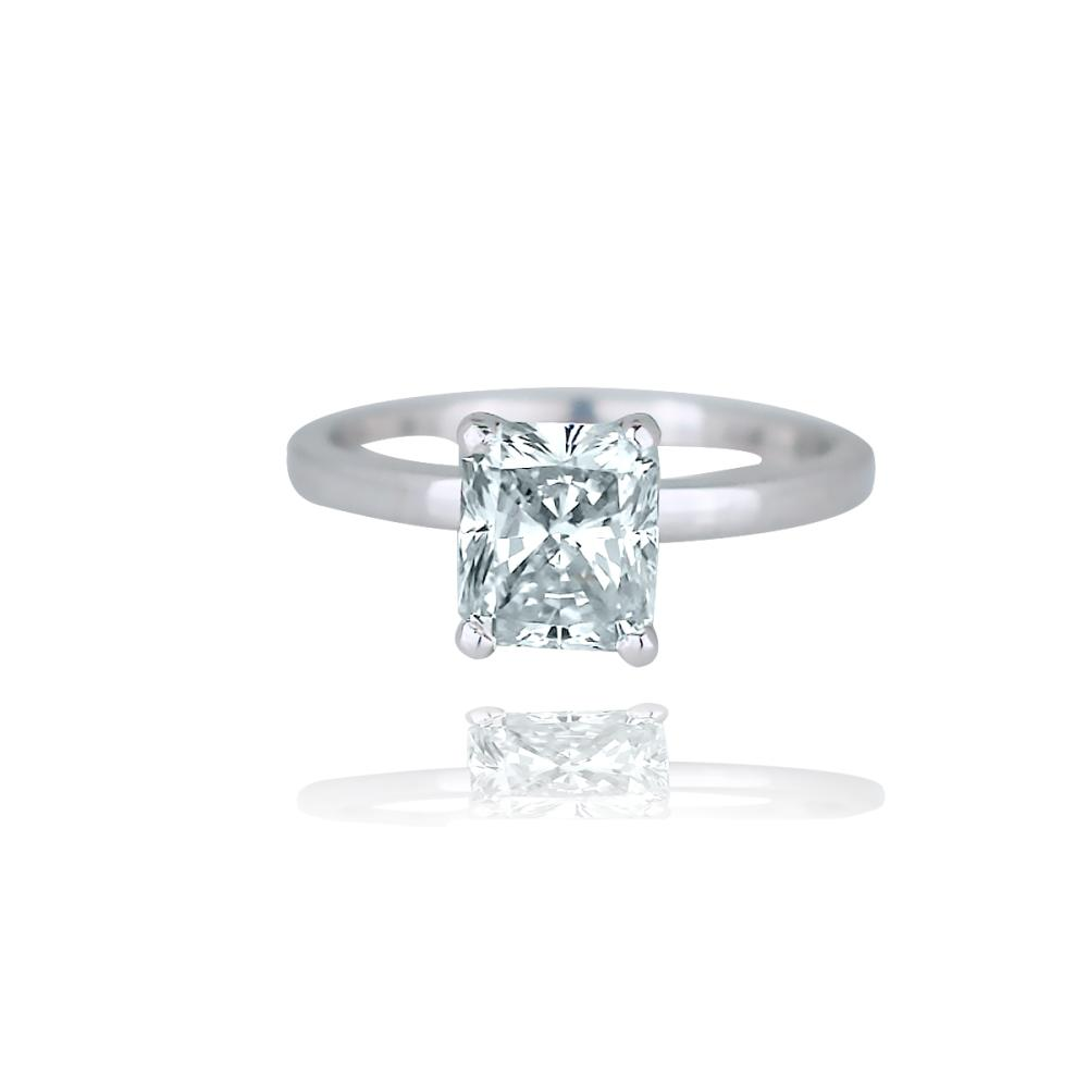 Solitaire, Cushion 1.55Ct Diamond, SI1, 14 Kt Wht. Gold