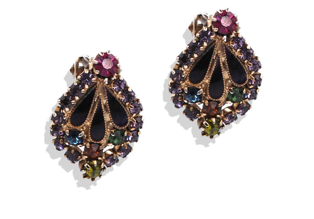 Lot 8759: Albert Weiss, 1940 Vintage Necklace-Earring Set, Enamel and Rhinestones