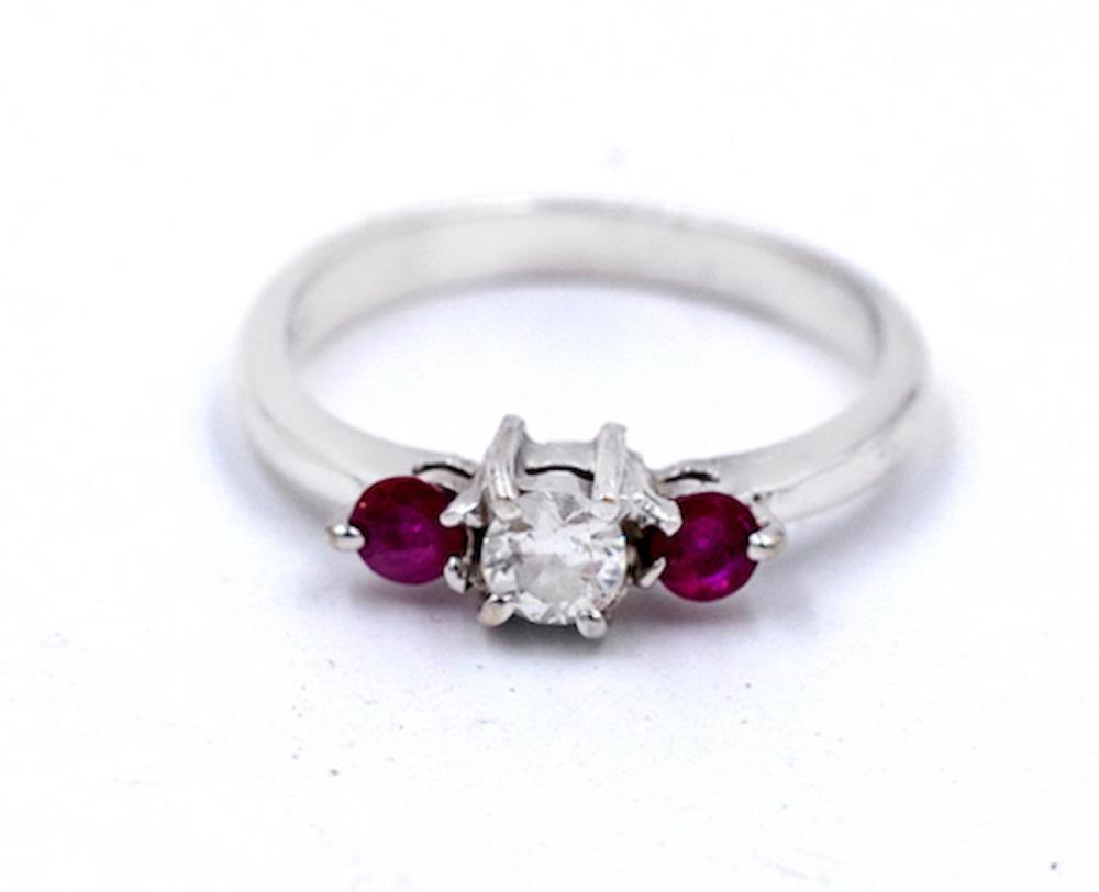Lot 8764: Victorian, 3-stone European Diamond, Ruby Ring