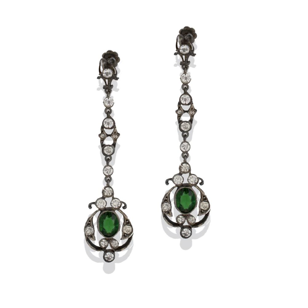 Victorian, 1870's Green Stone, Dangling Earrings, Preserved