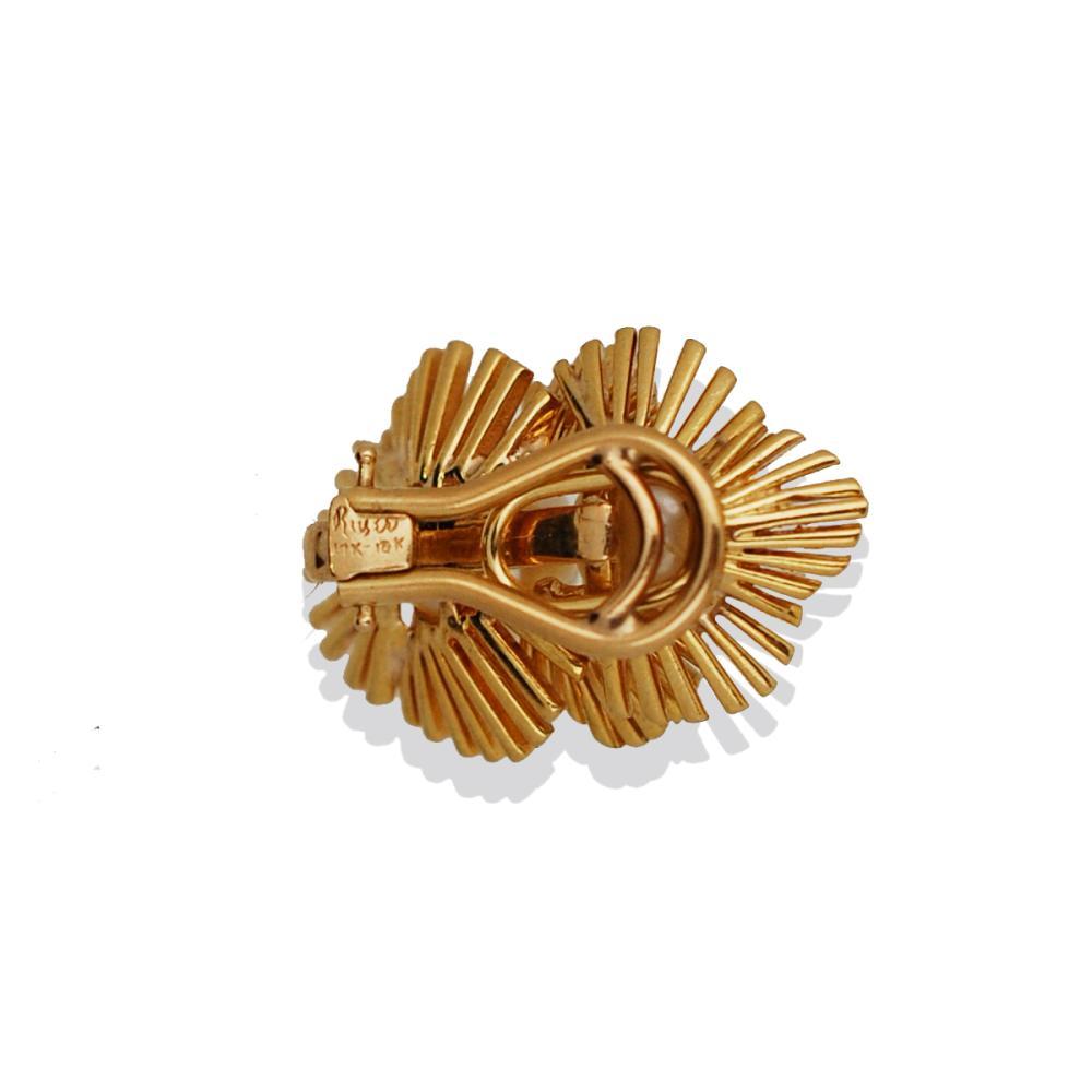 Lot 8785: Retro, Modern 8.5-9.0 MM Yellow Gold, Heavy Pearl Earrings