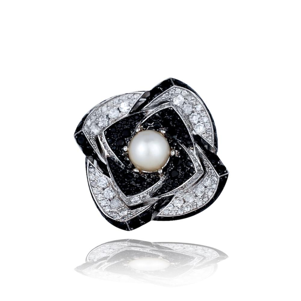 Lot 8792: Art Deco, Large 9 TCW Flower Ring, Diamonds, Black Spinel and More!<