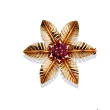 Lot 8816: Burmese Ruby, Floral Pin, .70 TCW Exceptional Quality, 14 karat Gold