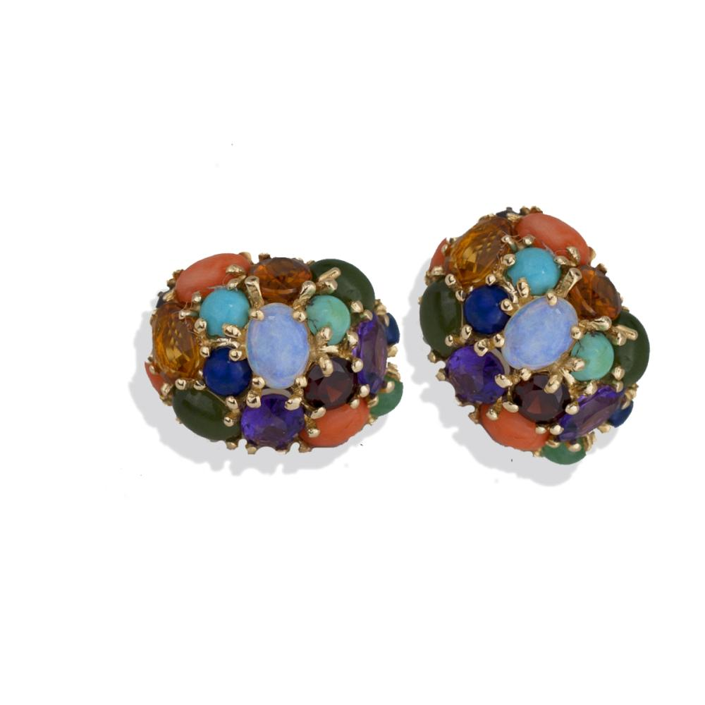Lot 8817: Large, Dome Multi 15 CTW Gemstone, Omega Quality Earrings
