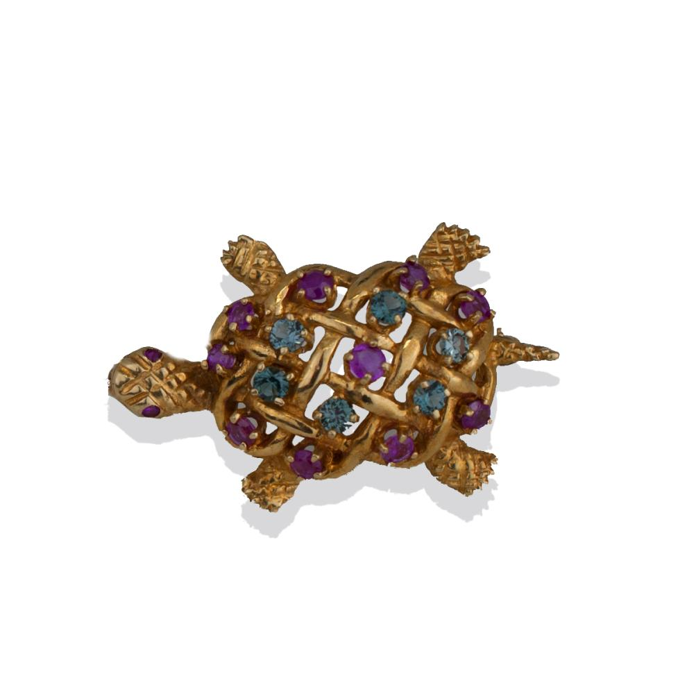 Aquamarine and Ruby, Turtle Pin, 1.60 TCW Gems, Yellow Gold