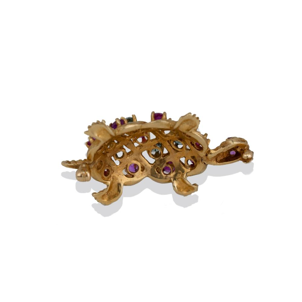Lot 8818: Aquamarine and Ruby, Turtle Pin, 1.60 TCW Gems, Yellow Gold