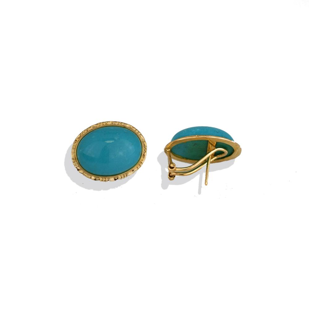 Lot 8820: Cabochon Turquoise Bezel Earrings, Gold Omega Backs
