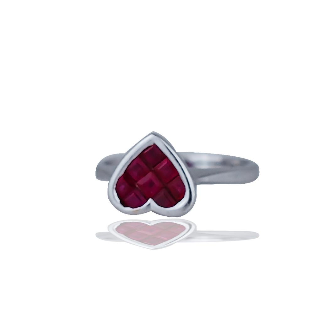 Pristine, Ruby Heart Princess, Invisible Set Ring 1 CTW