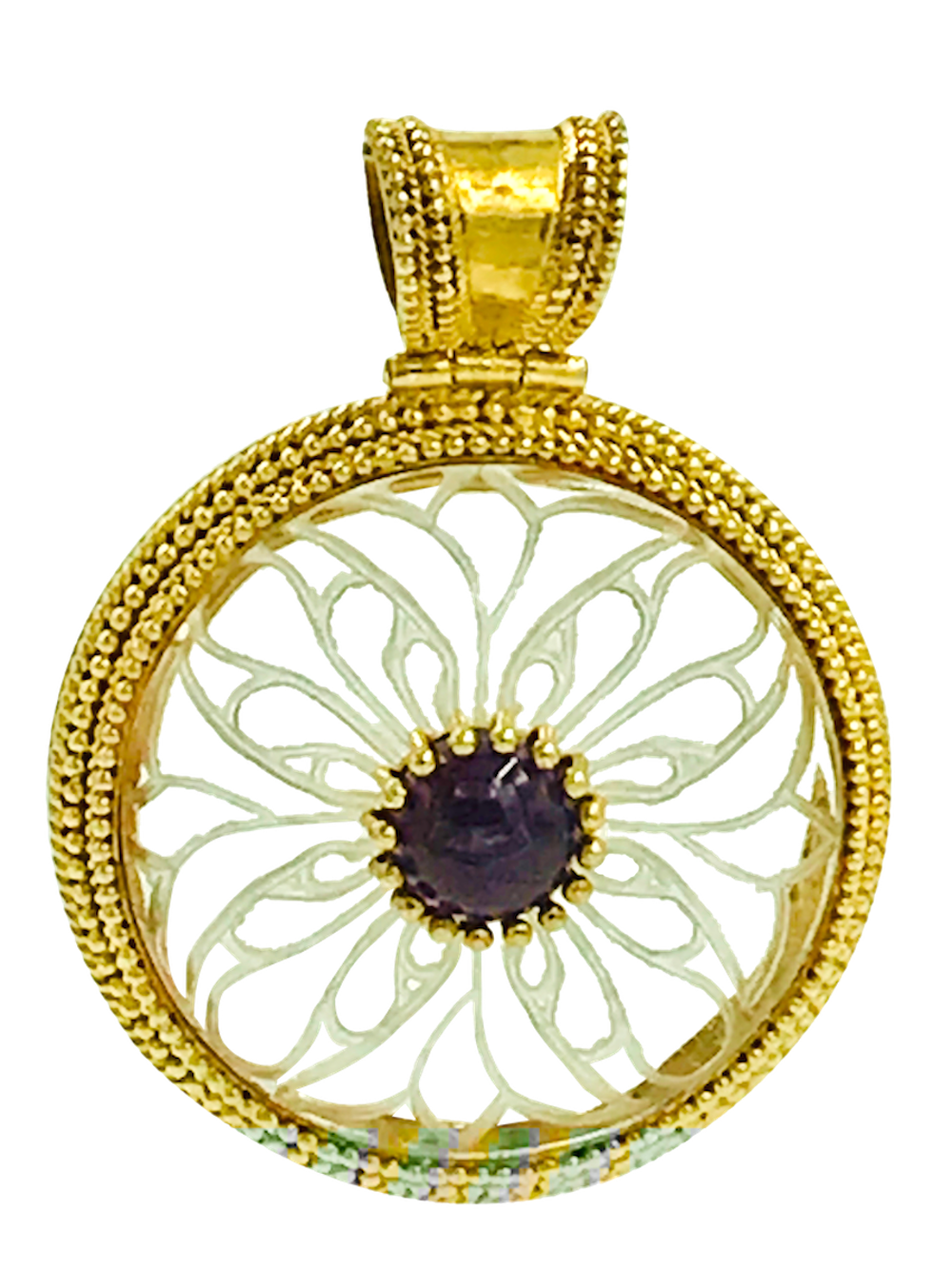 Lot 8832: Modern, Quartz and Amethyst Disk Pendant