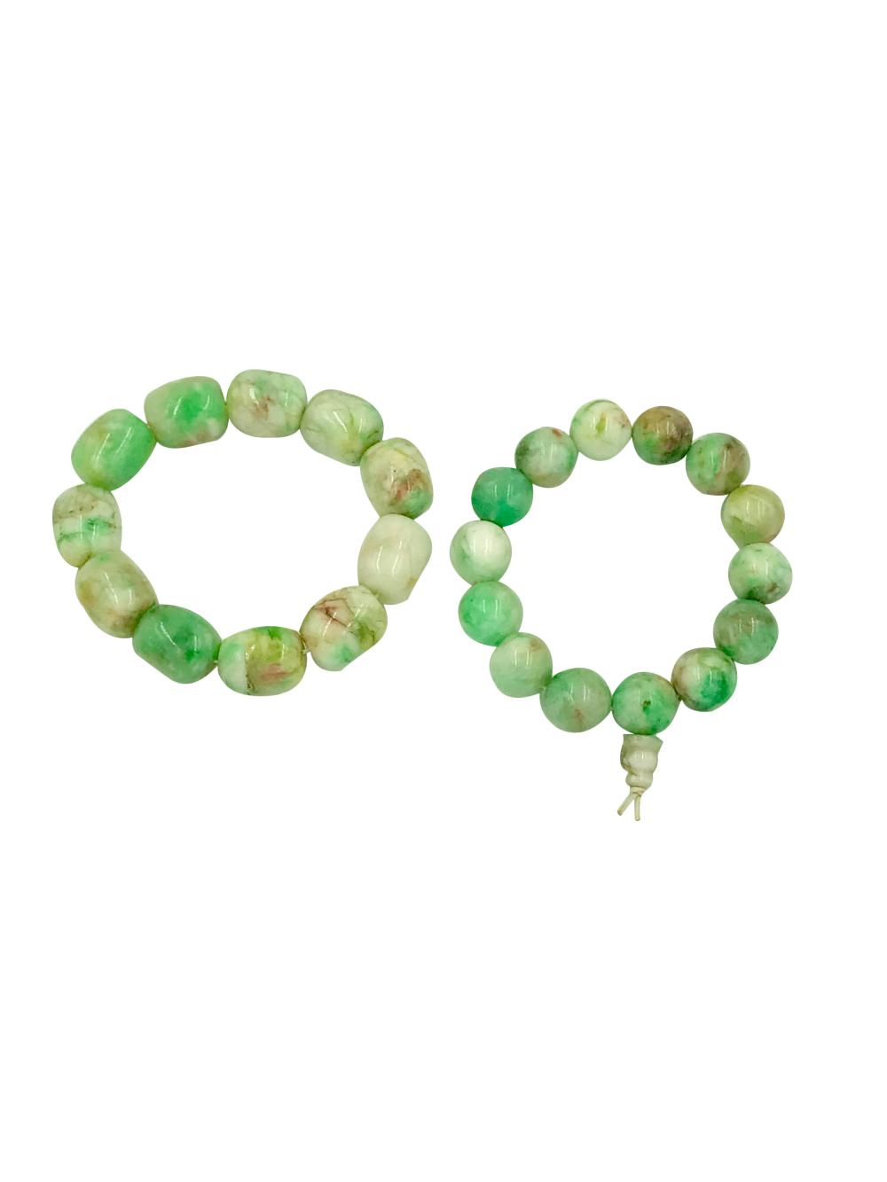 Set of Chinese Prayer Beads, Green Faceted Chrysoprase, Marble-Colored