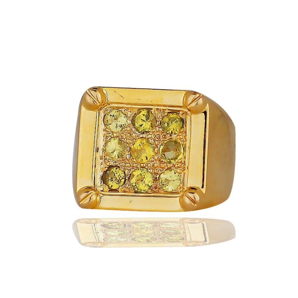 Over ½ ounce Gold Ring, ¾ wide with 1.35 CT. Yellow Sapphires