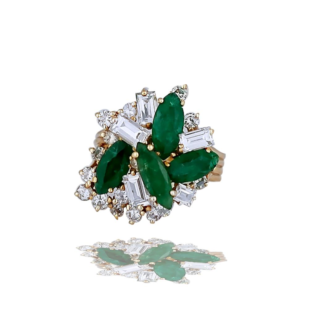 Large Emerald & Baguette 4.35 TCW, Retro Cluster Ring