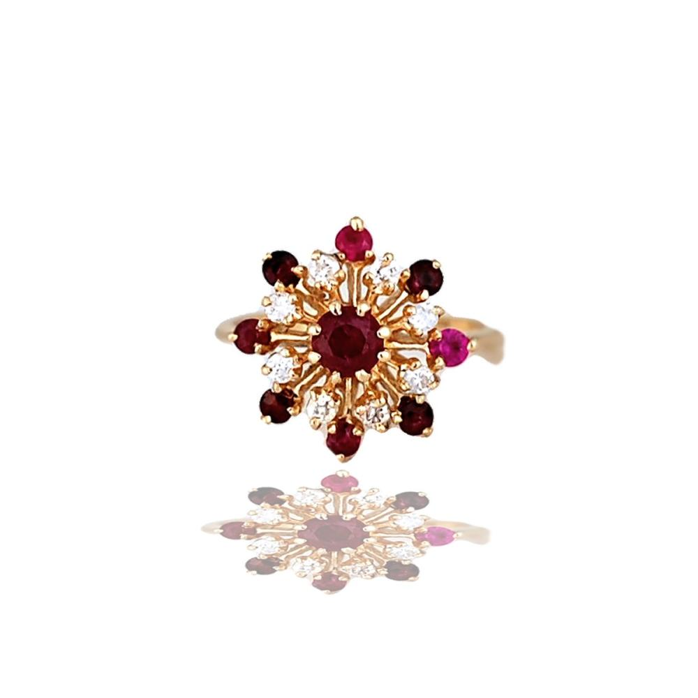 Ruby & Diamond, Temple 1.30 TCW, Cluster 14 Karat Gold Ring
