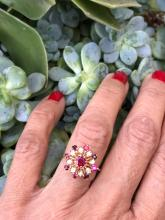 Lot 8977: Ruby & Diamond, Temple 1.30 TCW, Cluster 14 Karat Gold Ring