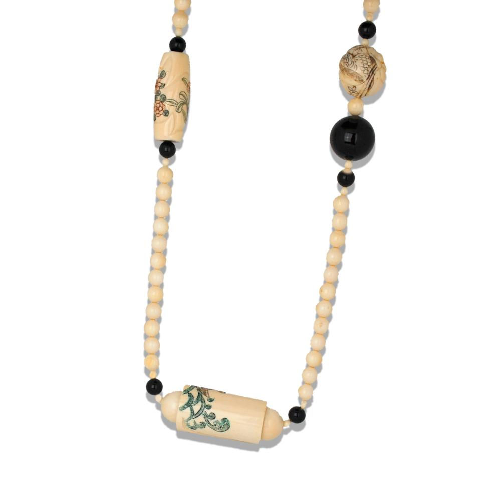 Nutsky Ivory 40 Inch, Necklace with Beads and Hand Carved Etching