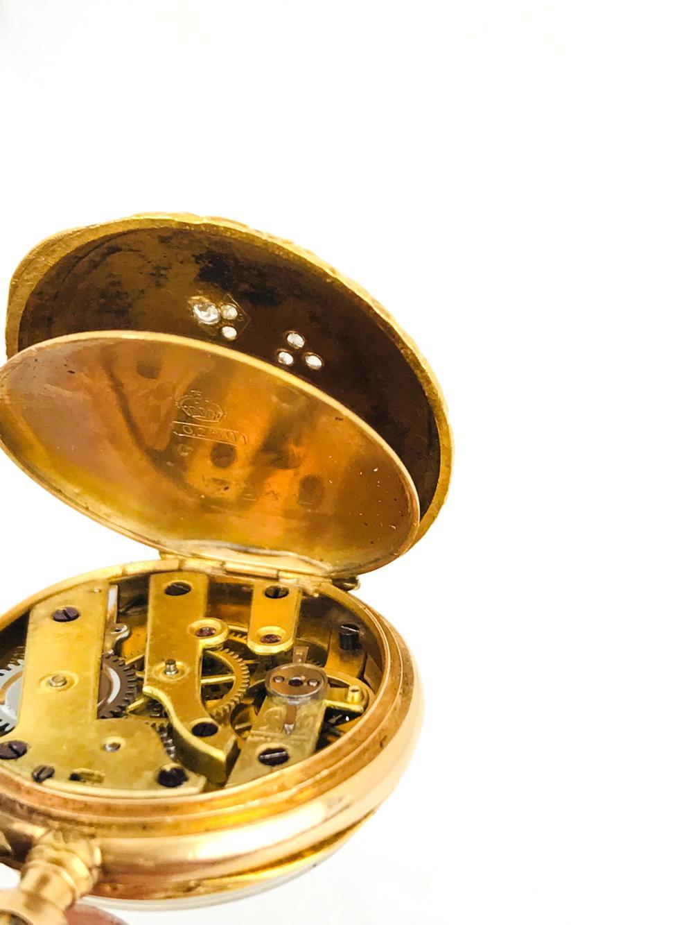 Lot 9034: Rare, 18 Karat Pendant Victorian, Shamrock Rose-Cut Diamond Pocket Watch