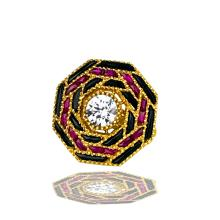 Lot 9058: Black Onyx, & Rubies, Rare French Cut Gems, Art Nouveau ring with White Center