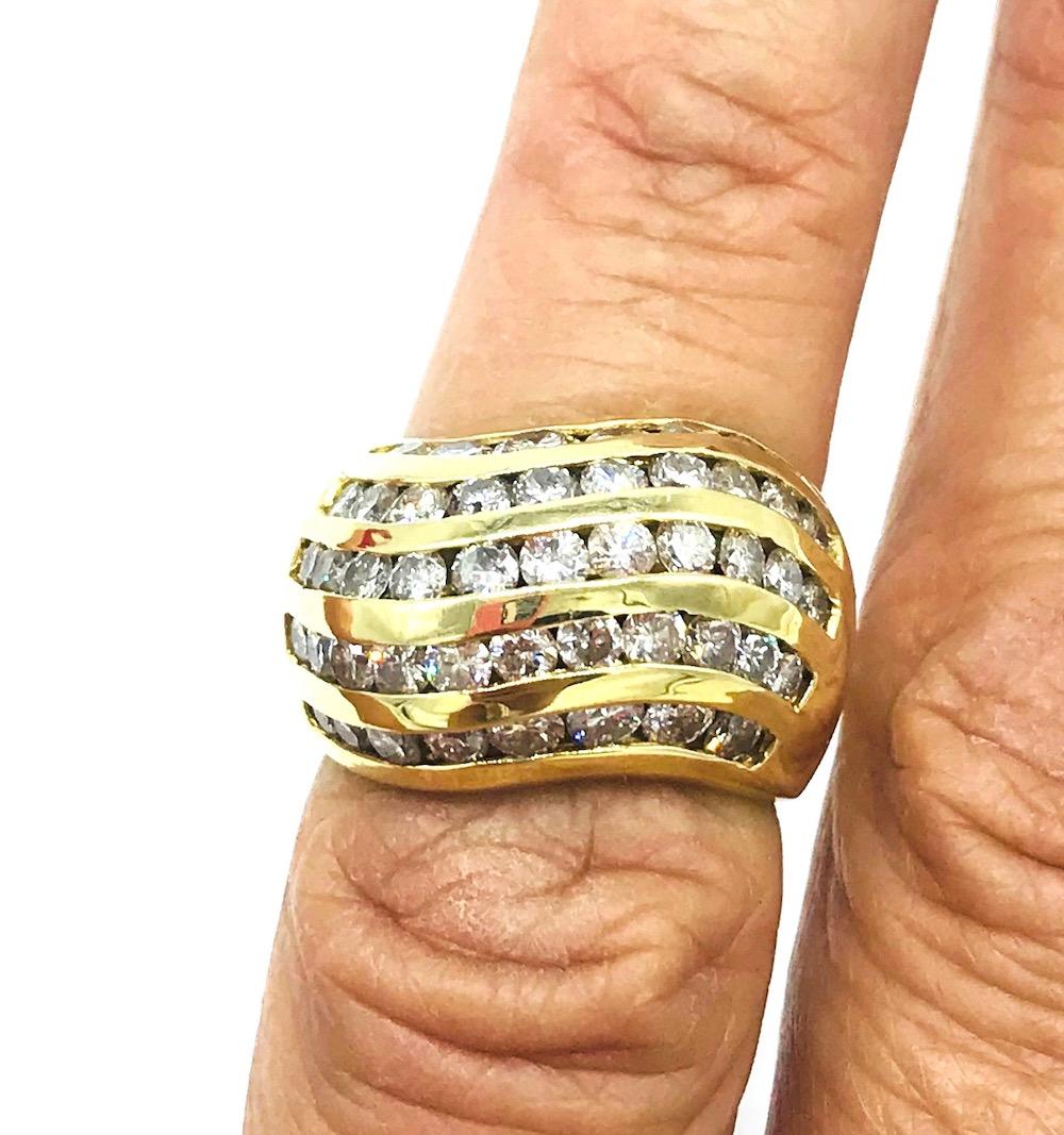 Lot 9076: 14 Kt. Yellow Gold 5-Row, Channel Set Diamond 2.25 Carat Ring