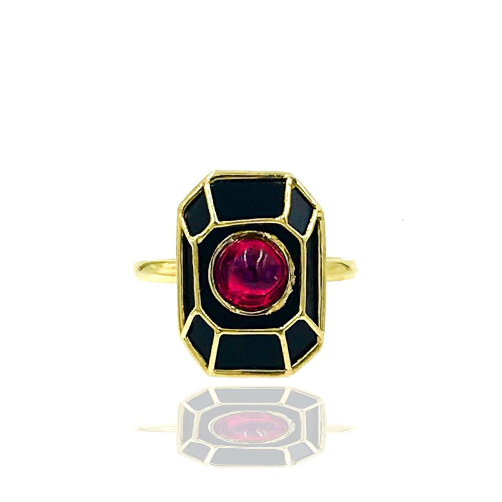 Black Onyx Gothic Ring with Red Cabishon Stone