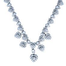 Lot 9120: Beautiful, Heart Diamond Necklace Weighing 6.50 Carats, 18 karat Gold