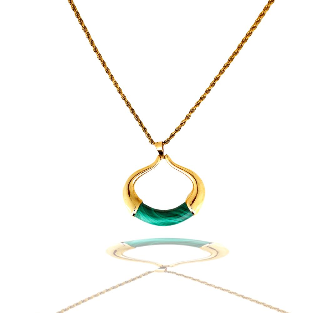 Fashionable, Malachite Yellow Gold Pendant with Yellow Gold Electroplated Rope Chain