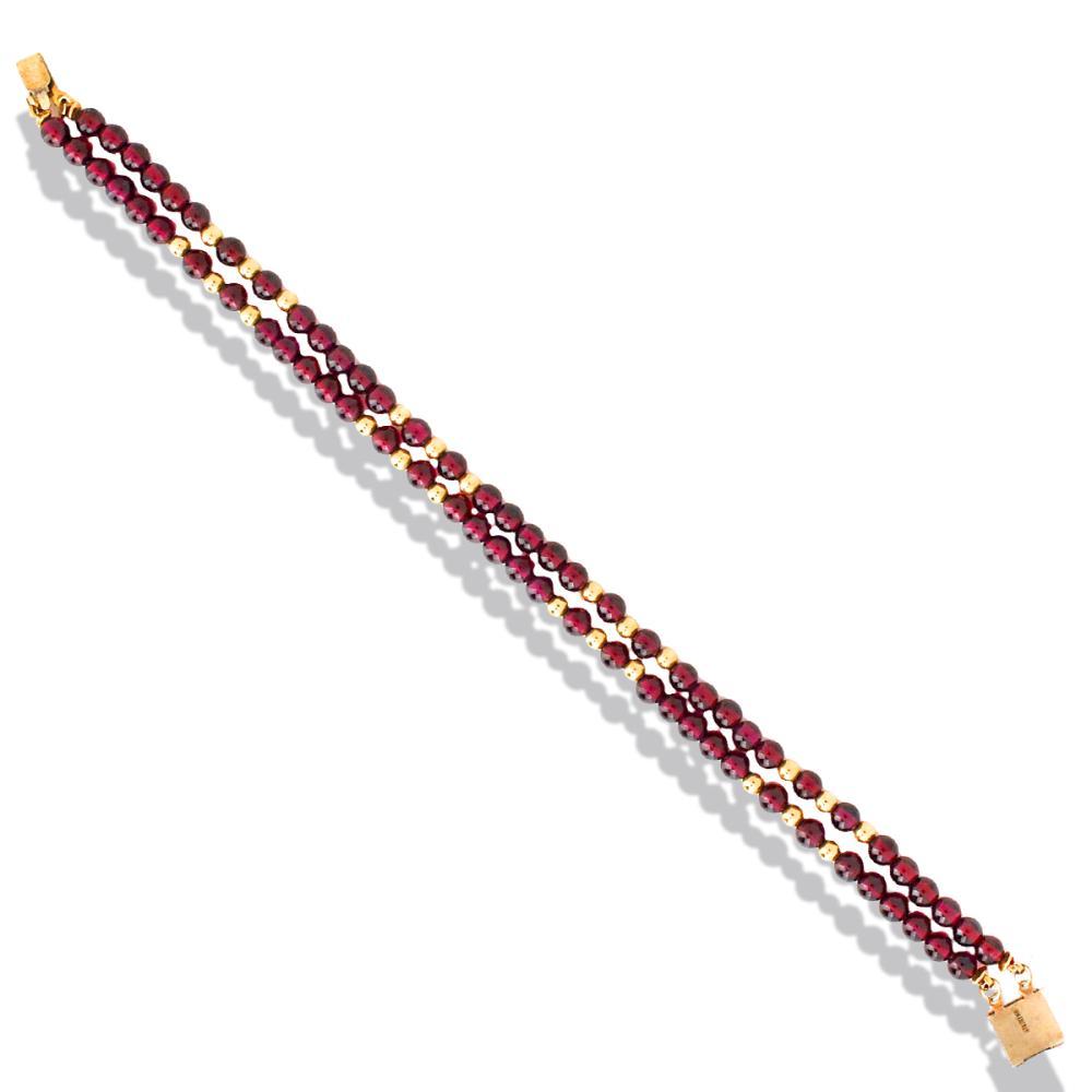 Lot 9130: Retro, 2 Strand Garnet and Gold Tone Bead Bracelet