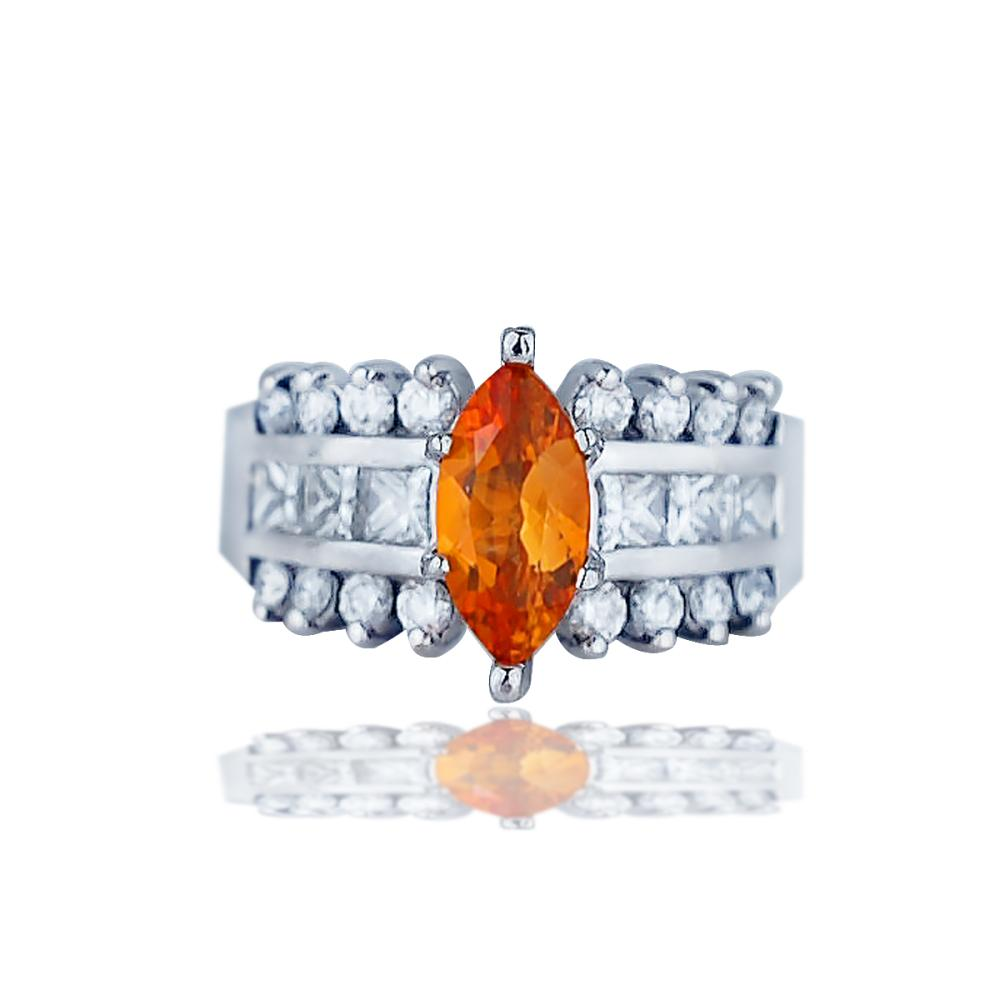 Lot 9138: Marquise, Orange Garnet and 1 Carat Diamond Ring, 14 Karat