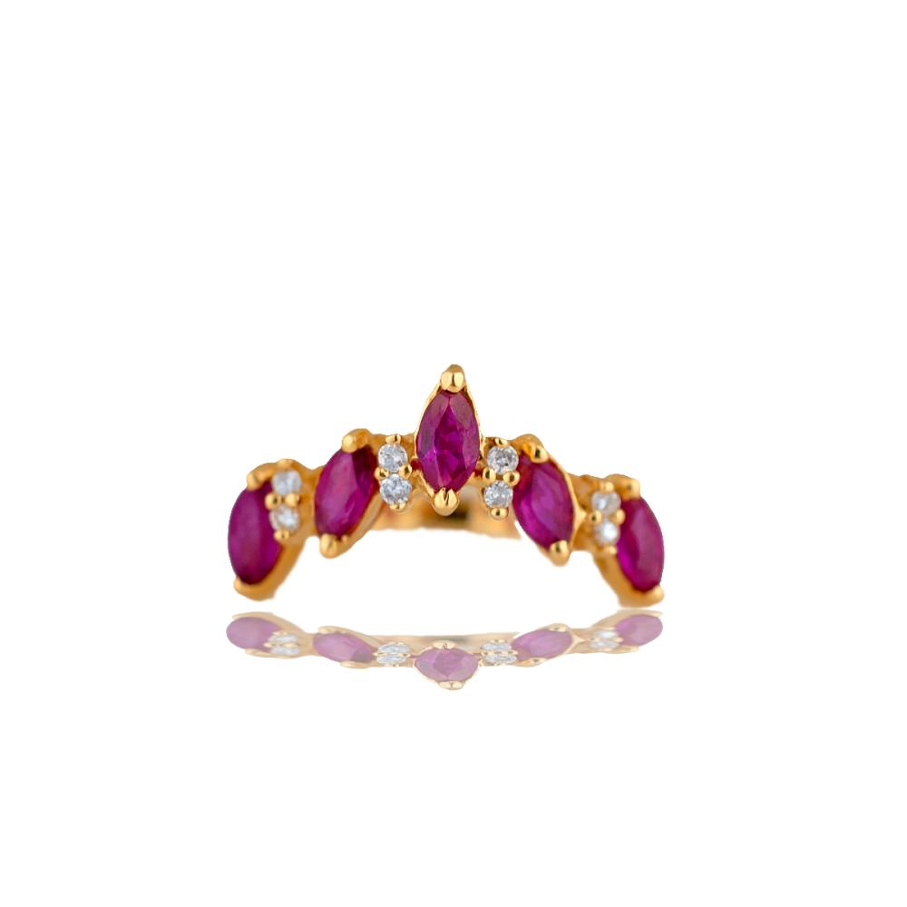 Ruby and Diamond 'V' Shaped Ring with Marquise set in 14 Karat Yellow Gold