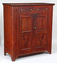 19th century American grain painted jelly cupboard