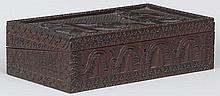 19th century Anglo-Indian carved wood lap desk