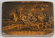 19th century Scottish carved wood snuff box