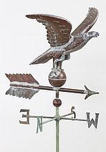 Small copper full bodied eagle weathervane