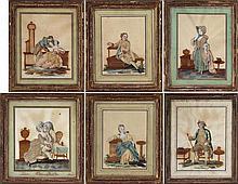 Group of (6) embellished interior genre scenes