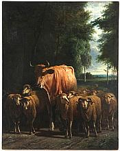 Cow and sheep (Continental School, 20th century)