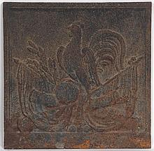 Iron fireback depicting crest with rooster