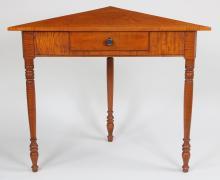 Eldred Wheeler tiger maple corner table