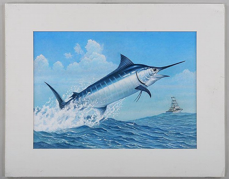 RON JENKINS (American, b.1932), jumping marlin,