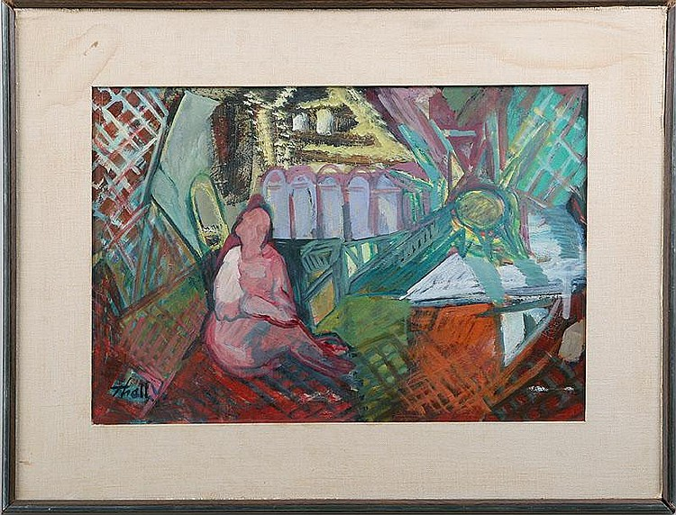 VICTOR THALL (20C), woman on a balcony, oil on